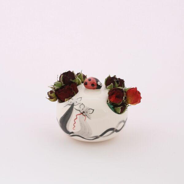 Virágtartó asztali cicás