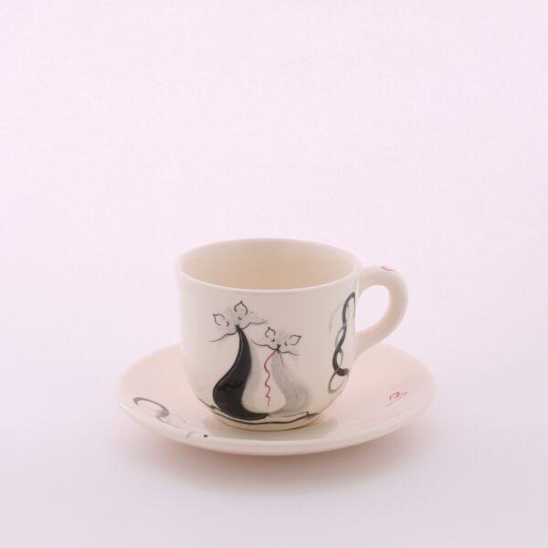 Teás csésze+alj cicás