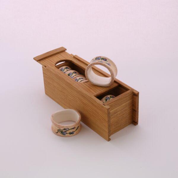 Szalvétagyűrű-készlet dobozban  levendulás