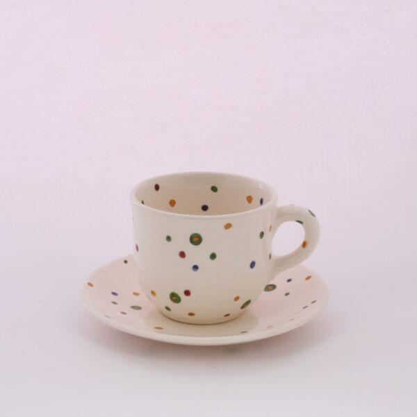 Teás csésze+alj pöttyös