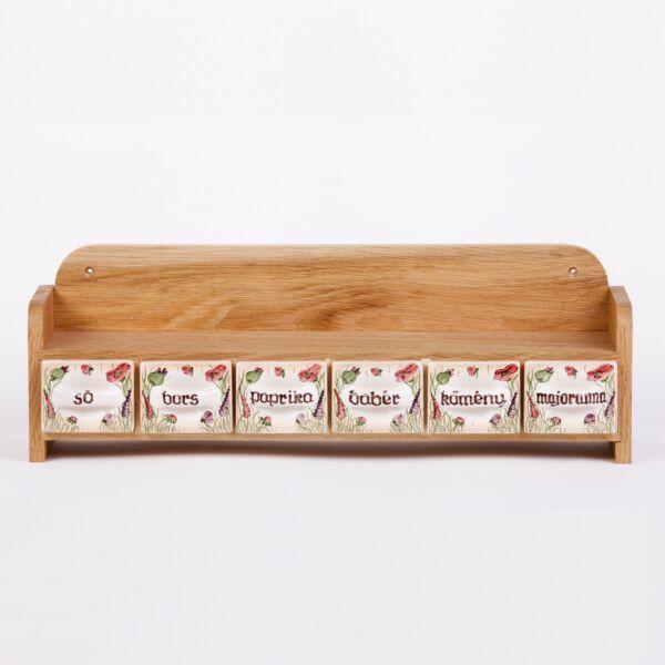 Fűszertartó – 6 fiókos,egysoros, pipacsos