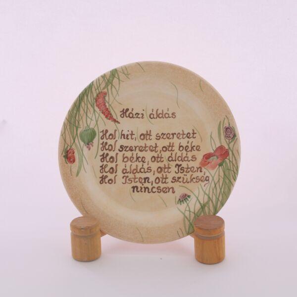Házi áldás tányér pipacsos