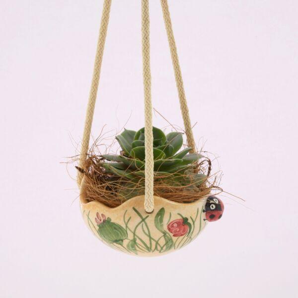 Virágtartó felfüggesztős félgömb pipacsos